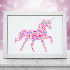 Personalised Pink Unicorn Print Childrens Birthday Gifts For Girls Kids Party