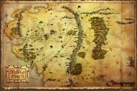 THE HOBBIT ~ BROWN MIDDLE EARTH MAP 24x36 MOVIE POSTER Unexpected Journey