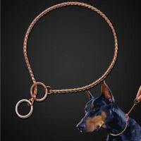 Metal Snake Chain Dog Collars P Choke Training Dog Slip Collar Durable Rose Gold
