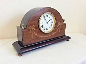EXCELLENT EDWARDIAN 8 day MAHOGANY CASED MANTLE CLOCK in GREAT WORKING ORDER.