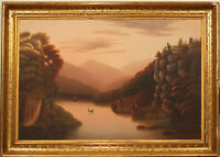 ANTIQUE HUDSON RIVER BOATING LANDSCAPE - ORIGINAL GILT GESSO WOOD FRAME