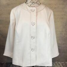 Sz 22W - Le Suit Women's Career Blazer Torino Butter Cream Tweed Button Up NWT
