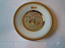 24KT gold Chokin Plate Collectors Japanese Porcelain Dish of Two Birds - NEW