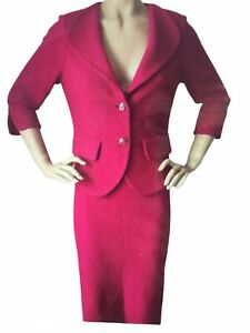 NEW ST JOHN KNIT SZ 6 SKIRT SUIT COSMO PINK SHIMMER TWEED KNIT WOOL RAYON