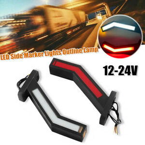 2PCS 12-24V Car Truck Van LED Side Marker Lights Outline Lamp Parts Parking Lamp