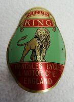 """Altes Fahrrad Oldtimer Emblem """"Hercules King"""" Schutzblech Blechschildchen Logo"""