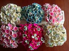 Vintage Millinery Flower Forget Me Not 6 bunch All for Hat + Hair Crown Kawaii