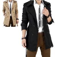 Men's Winter Slim Double Breasted Trench Coat Long Jacket Overcoat Outwear  ZN