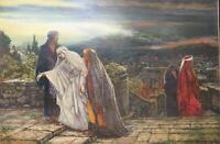 Herbert Gustave Schmalz  return from calvery 1895 Golgotha Oil Gothic Israel