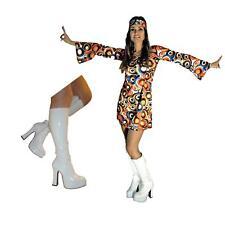 60s 70s Fancy Dress Costume Swirl Flower Power HIPPY HIPPIE RETRO BOOTS