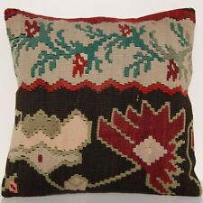 "18X18"" Vintage Kilim Pillow Case Yugoslavian Multi Colored Square Wool Area Rugs"