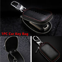 1PC Black Leather Car Key Cover Holder Key Fob Case Shell Bag Universal For Cars