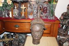 Antique African Bronze Metal Bust Sculpture Lifelike Headdress Benin Bronze