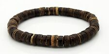 "Coconut Beads Bracelet 7.5"" Stretchy Wristband Handmade Jewellery By TaKuKai UK"