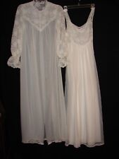 Vintage White Shadowline Night Gown and Robe Set  ~ Peignoir size Petite Small