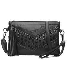 Women Bags Retro Rivet Envelope Shoulder Tote Genuine Leather Clutch Handbag