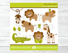 Baby Safari Jungle Lion Monkey Elephant Giraffe Frog Alligator Clipart