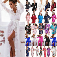 Womens Short/Long Wedding Bride Bridesmaid Satin Robe Floral Sleepwear Kimono US