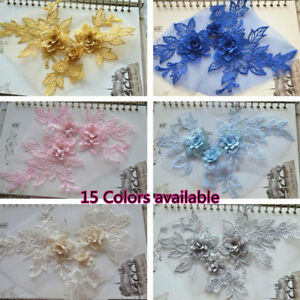 B215 1PC, Motif Embroidery 3D Flower Lace Applique Sewing Bridal Wedding Trims