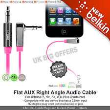 Belkin AV10128cw03-PNK Audio Right Angle Flat cable 3.5mm to 3.5mm jack socket