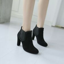 Women High Block Heels Round Toe Ankle Boots Casual Suede Clubwear Office Shoes