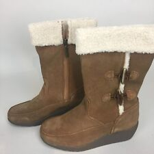 GH Bass Womens Size 6 M Vada Suede Tan Boots Wedge Heel Water Resistant New