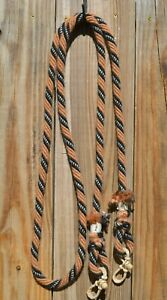"Jose Ortiz 5/8"" Mohair Roping / Loop Reins 8 ft. - Tan, Black, Black and White"