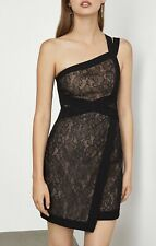 NWT BCBG MAX AZRIA One Shoulder Mini Dress Black/Lace Combo Size 0