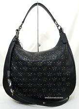 COACH Pebbled Leather Hobo Floral Studded Black Shoulder F55632 Handbag NWT RARE