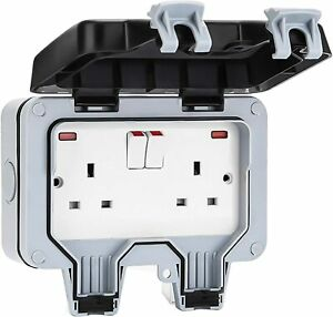 Outdoor Double Waterproof Switched Power Socket Wall Electrical Outlets w/ Cover