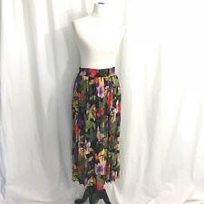 Vintage 80s Jungle Floral Pleated Midi Skirt L