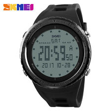 SKMEI Mens Man Digital LCD Alarm Date Military Black Dial Sport Rubber Watch