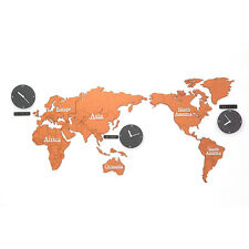 Eco-friendly MDF Orange World Time Non Ticking Silent Wall Clock World Map Décor