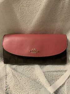 COACH F29434 signature C FULL SIZE WALLET Pink CHOCOLATE Brown Clutch