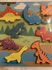 Spark Create Imagine - 8 Piece Wooden Chunky Dinosaur Puzzle 18 Mos + New