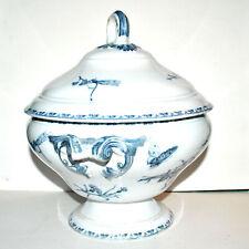 SARREGUEMINES Soupière CARMEN décor papillon bleu en faïence - Ht 30 cm