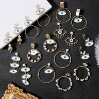 Evil Eyes Big Charm Gold Loop Drop Dangle Earrings Women Statement Jewelry