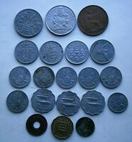 Lot of (20) Vintage United Kingdom Coins, various dates in circulated condition