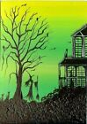 ACEO Original Halloween Haunted House Witch Cats Happy Fun Art Painting HYMES
