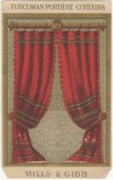 Victorian Turcoman Portiere Curtains by Mills & Gibb Trade Card