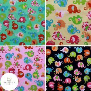 "100% Cotton Poplin, Floral Elephants, 4 Colours, High Quality, 60"" Wide"