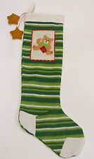 LONG GREEN & WHITE CHRISTMAS STOCKING w/ EMBROIDERED TEDDY BEAR PATCH