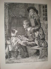 Who Speaks First C T Garland children and begging dogs 1885 old print