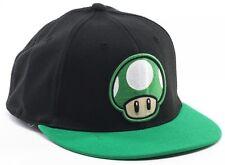 NEW Nintendo 1UP MUSHROOM HAT Super Mario Era Flatbill Flex Mens Black Cap 1 Up