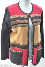 KORET cardigan BOILED WOOL Tapestry geo block knit SWEATER Jacket Top S NEW VTG