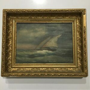 1890 Antique 19th Century Original Oil PAINTING on Canvas LULU Sailing Maritime