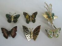VINTAGE JOB LOT 6 COLOURFUL  ENAMEL BUTTERFLY INSECT BROOCHES PINS