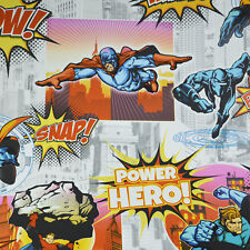 Comic Superhero Collage Buildings Kids City Wallpaper Bright Bold Deco Discount