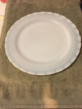 VHTF MacBeth-Evans Oxford White Opalescent Milk Glass Charger or Cake Plate 12""