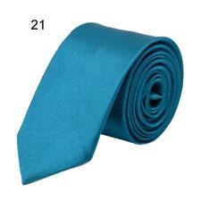 Casual Men Classic Skinny Slim Tie Solid Color Plain Silk Jacquard Woven Necktie